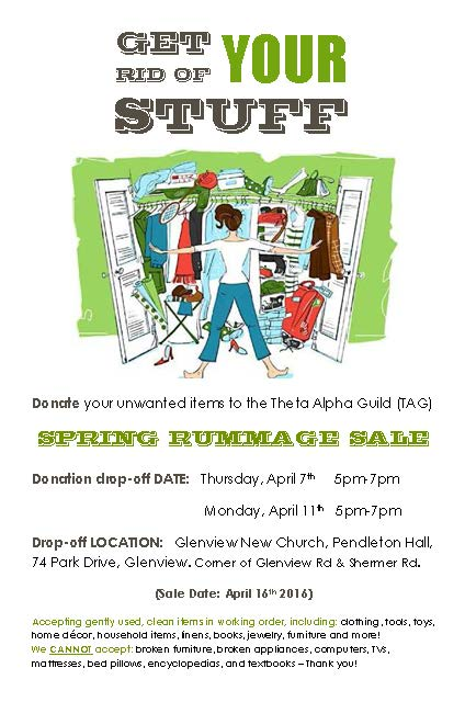 Spring Rummage Sale – April 16! : Glenview New Church